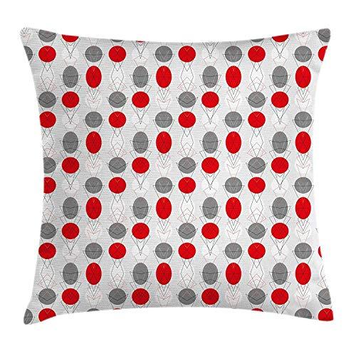 tyui7 Funda de cojín Decorativa Almohada Grandes Puntos Circulares y Formas ovaladas combinadas con Las Figuras de la geometría Pillowcase 45x45 cm Gris Rojo Blanco