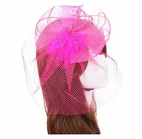 Amcool Fascinator Stirnbänder Damen Feder Kopfschmuck Haarfön Hochzeit Party Tanzen Kopfbedeckungen Headwear (Länge: ca. 20cm, Hot pink)