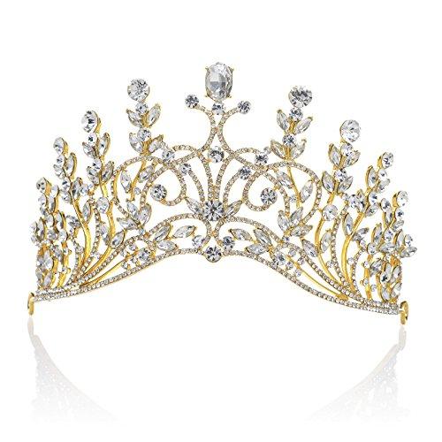 SWEETV Luxus Prinzessin Krone Hochzeit Kristalle Diadem Strass Braut Tiara für Festzüge Prom, (Gold Tiara)