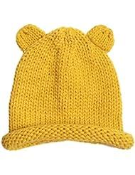 Tongshi Lindo bebé de invierno para niños muchachos de las niñas woolen capsula los sombreros (Amarillo)