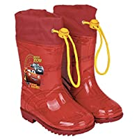 PERLETTI Cars Rain Boots for Kids - Cars Waterproof Wellies Shoes with Anti Slip Outsole - Colored Wellington for Boys with Cars Press - Red (5/6 UK)