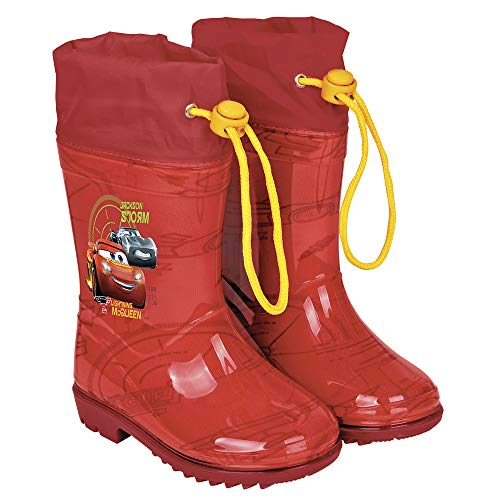 PERLETTI Cars Rain Boots for Kids - Cars Waterproof Wellies Shoes with Anti Slip Outsole - Colored Wellington for Boys with Cars Press - Red