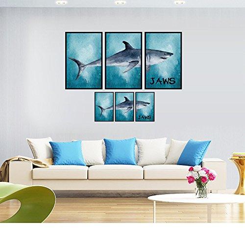 PLLP Große Weiße Hai Bilderrahmen Dekorative Aufkleber Sofa Bett Wandaufkleber Nano Druck Wandaufkleber,Farbe,60 * 90 cm