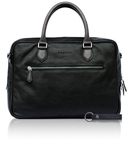 bugatti Citta Aktentasche aus echtem Leder für Herren - edle Businesstasche in schwarz
