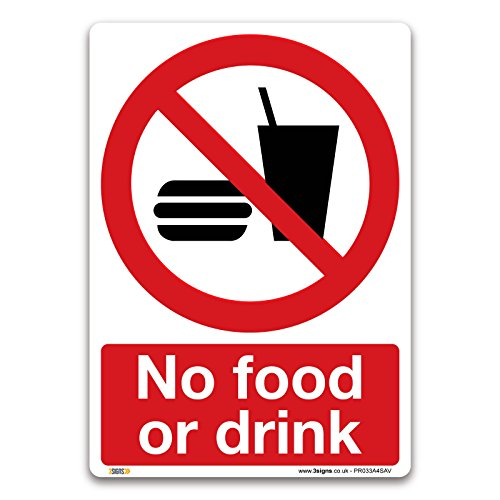 No food or drink Sign - A4 Self-adhesive Vinyl Sign - Prohibition Safety Information