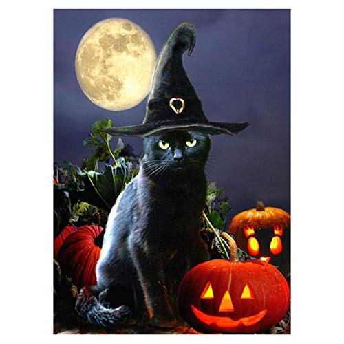 Halloween cat-5d Diamant Gemälde Naht Mosaik DIY Set Stickerei für Schlafzimmer Decor Geschenke-(Full)