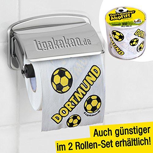 Preisvergleich Produktbild Klopapier Dortmunder Abpfiff 1 Rolle | Dieses Toilettenpapier macht das Klo von FC Schalke 04-, FC Bayern- & Fußball-Fans zur Dortmund-Kultschüssel | Geschenkidee für Männer & Freunde