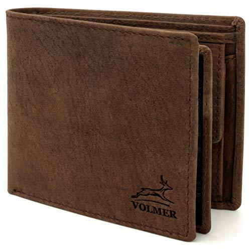 Fa.Volmer ® Stabile braune Herren-Ledergeldbörse aus echtem Büffel-Leder mit RFID-Schutz #VO22 (Brown)