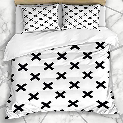 Soefipok Bettbezug-Sets Pattern Line Schwarz Weiß Kreuz Abstrakt Orientalisch Baby Board Brush Checker Design Dreieck Mikrofaser Bettwäsche mit 2 Pillow Shams -