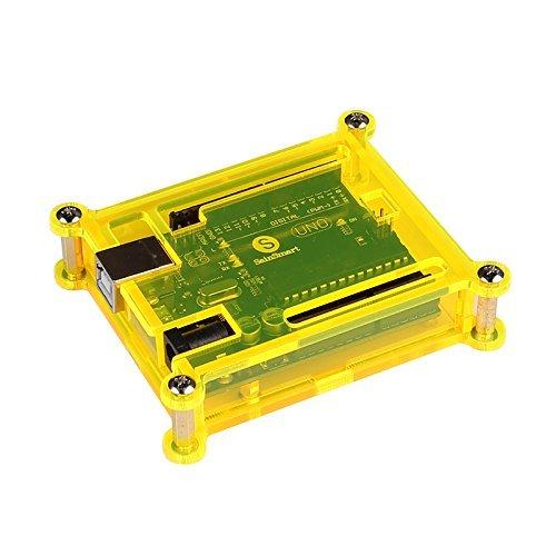 SainSmart UNO R3 ATmega328P Development Board + USB Cable + Fluorescent Yellow Acrylic Transparent Hard Case Enclosure, Compatible With Arduino -