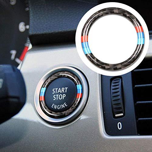 Never-hu Ringrahmen für den Start/Stopp-Knopf, kreisförmig, Kohlefaser-Dekorationsring Für BMW 3er E90 / E92 / E93