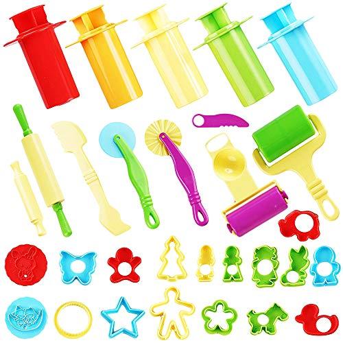 The twiddlers 30 strumenti per plastilina modellante argilla utensili set - taglierini stampi attrezzi colorata assortiti forme modelli colori utensili pasta modellare formine dido bambini giocattolo