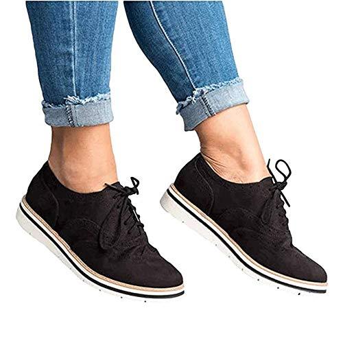 5303fbd5f Zapatos Planos con Cordones Mujer Brogue Zapato Talón Plano Gamuza Colores  Manera Tallas Grandes Botas Negro Rosa Gris Azul Marrón 35-43