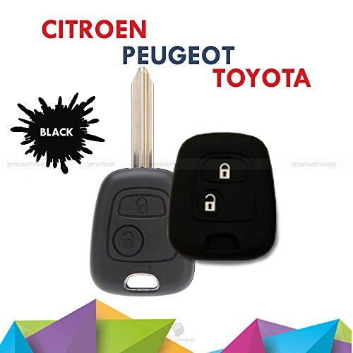 Coque coloré en silicone souple pour clé à 2 boutons pour voiture Toyota Aygo, en 10 couleurs Noir