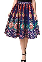 Tootlessly Women's Ethnic Style 3d Digital Print Swing Party Dress M As Picture
