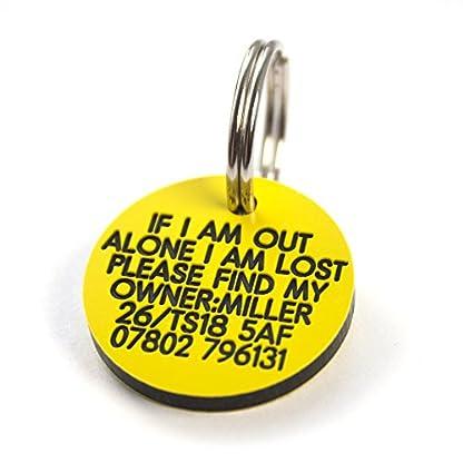 Engraving Studios Deeply engraved yellow plastic 27mm circular dog tag 1
