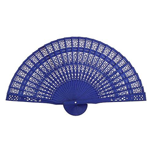 Hölzener Faltfächer, chinesische Vintage, faltbarer Sandelholz-Handfächer von Sunshine D, geschnitzter Fächer, ausgeschnittenes Blumenmuster, faltbarer hölzener Handfächer für Hochzeitsgeschenke blau