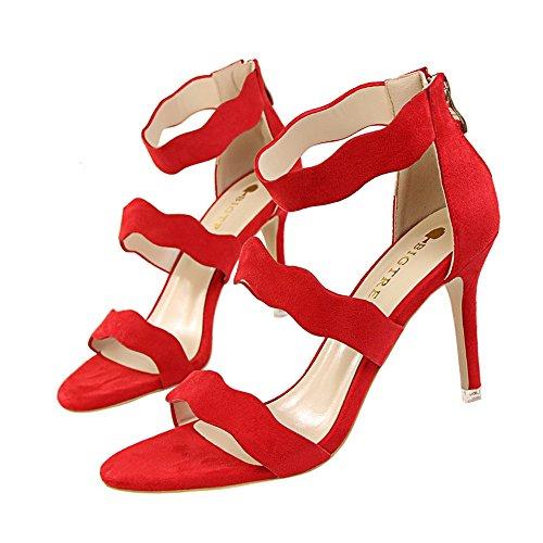 z&dw Chaussures pour femmes creux slim à la mode été doux avec des talons hauts velours visage vagues avec un mot avec les sandales Rouge