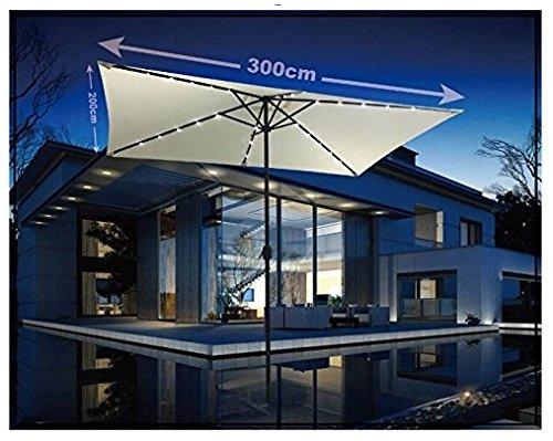Eurolandia Mobili Da Giardino.87623 Ombrellone In Alluminio Da 2x3 Mt Ecru Con 26 Luci Led A Pannelli Solari Marcata Eurolandia Srl