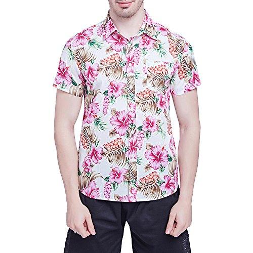 Bonboho Herren Hemden Große Größe Blumendrucken Polka Dots Kurzarm Männer Drucken Punkt Knopf Oben Shirt Hemd Oberhemd Knopfhemd Regular Fit (Oben Knopf)