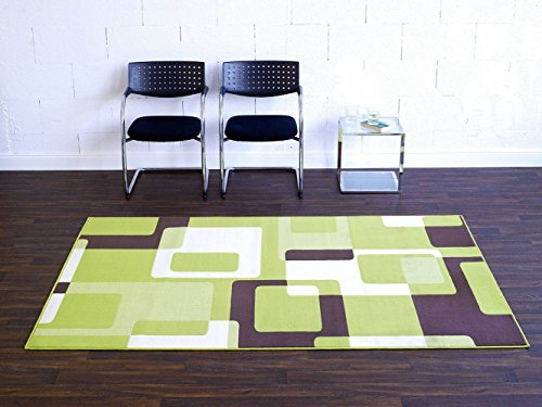 HANSE Home 102015_80x200 Teppich Läufer Bettumrandung Brücke, Polypropylen, grün braun Creme, 80 x 200 x 0.9 cm