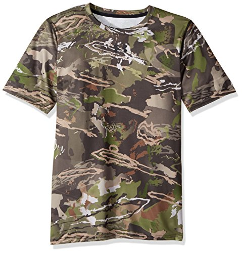 Under Armour Jungen Duft Control Tech Short Sleeve Top, Jungen, 1259284, Ridge Reaper Camo Fo (943)/Black, Youth XS (Armour Camo Kinder Under)