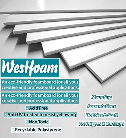 A2 (420mm x 594mm) White Foam Board Mount Board 5mm Thick Foam Sheet Sign Display Model Backdrop Craft (1