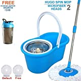 Hugo Mop Bucket Magic Spin Mop Bucket Double Drive Hand Pressure with Free Microfiber Mop Head Household Floor Cleaning - Multi Color