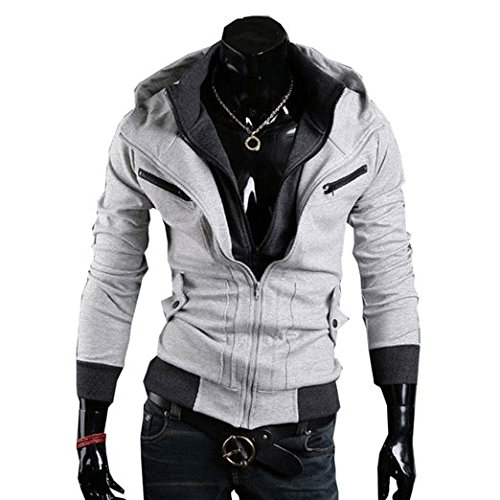 Assassins Creed 3 Hoodie Jacke,Assassin's Creed 3 Desmond Miles Jacket Hoodie Costume in M Size Grey B01 Assasins creed merchandise assassins creed desmond,Wonder Cosplay