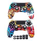 6amLifestyle Cover Skin Controller PS4 Dualshock in Silicone Antiscivolo, 2 Cover Controller PS4 (Graffiti) + 10 Gommini per Le Levette Analogiche per Joystick PS4 / PS4 PRO / PS4 Slim