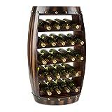 Klarstein Barrica Botellero para vino (estantería para 22 botellas, diseño barril rústico, base circular con almohadillas de goma, barnizado) - madera de abeto