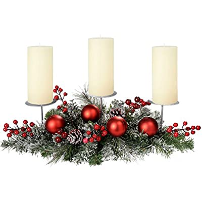 Frosted Decorated Table Centerpiece 3 Pillar Candle Holder 52cm Christmas Table Decoration