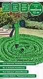 Unbekannt VARILANDO Flexibler Gartenschlauch mit Multifunktions-Brause 15 m Flexi-Schlauch Flexischlauch
