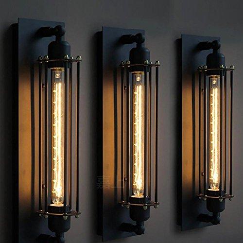 American Retro industriellen Stil Schmiedeeisen Schwarz Wandleuchte, Kreative Schlafzimmer Bett Treppe Gang Eingang Wandleuchte Beleuchtung Lampen Laternen (Farbe: Ein Satz (3 Lampe)) (Eisen-bett-satz)