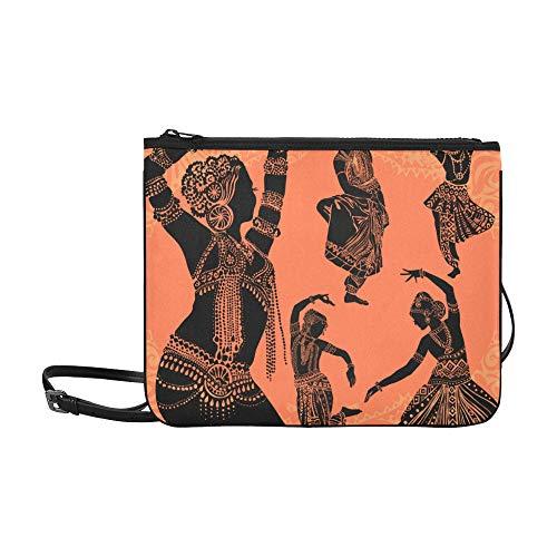 WYYWCY Schöne schwarze afrikanische Frau Muster benutzerdefinierte hochwertige Nylon dünne Clutch Bag Cross-Body Bag Umhängetasche (Traditionelle Tanz Kostüm Von Indien)