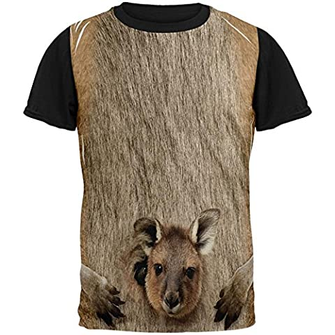Halloween-Känguru Kostüm über Mens Black Back T Shirt Multi MD (Old Man-kostüm Für Baby)