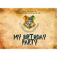 Design Buddies 15x Harry Potter Birthday Party Thick Invitations With Free Brown Parchment Envelopes