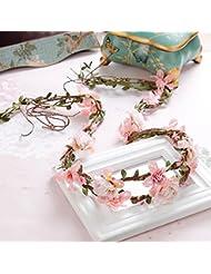 Couronne de coiffure de mariée, coiffure de dentelle rose, couronne de cheveux en rotin, bijoux en robe