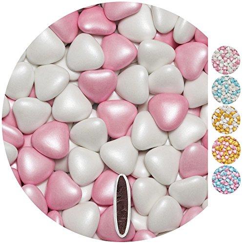 EinsSein Schokoherzen Pearl MIX 1kg weiß-rosa Schokodragees Herzen Candybar Hochzeitsmandeln griechische Herz (Personalisierte Wedding Party Geschenke)