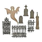 Sizzix Thinlits Stanzschablonen-Set 8 Stk. - Dorffriedhof von Tim Holtz, Stahl, Mehrfarbig, 19.1 x 14.4 x 0.4 cm,