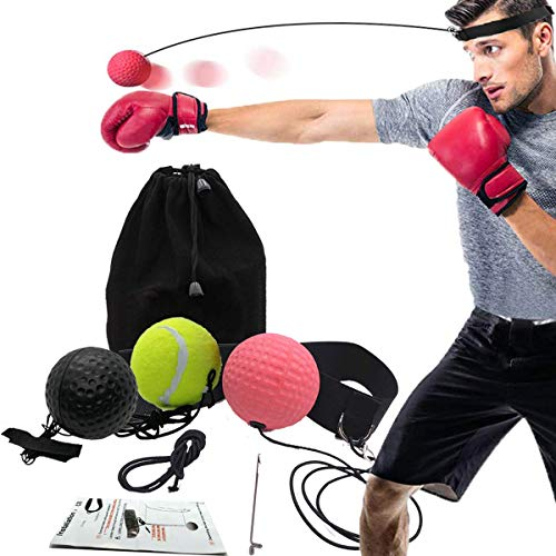 ng Ball,Reflex Fightball Kampf Dekompression Speed Fitness Punch Boxing Ball mit Kopfband, Trainingsgerät Speedball Zuhause und Outdoor für Boxtraining ()