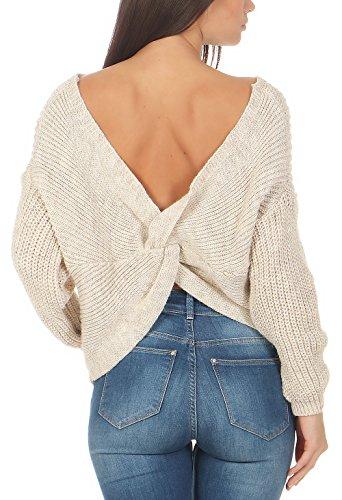 malito maglione aperta sulla schiena maglia 7340 Donna Taglia Unica Beige