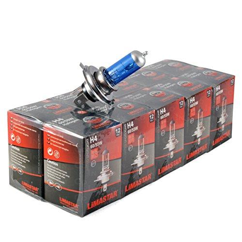 Lot de 10 lampes halogènes LIMASTAR - Originales - H4 - 12V - 60W/65W - Pour feu de route et feu de croisement - Bleu