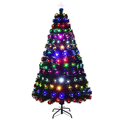 COSTWAY LED Weihnachtsbaum künstlicher Tannenbaum Christbaum beleuchtet 150/180/210cm grün mit Glasfaser-Farbwechsel (150cm)