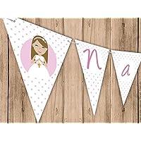 Guirnalda Mi Primera Comunión niña. Guirnalda decorativa. Banderines para fiestas. NAC007