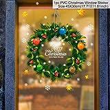 WL Wandaufkleber Weihnachten Wandaufkleber Elch Santa Schneeflocke Baum Kunst Aufkleber Szene Applikation Wandbild Fensteraufkleber Schaufenster PVC Aufkleber 45X30Cm 1