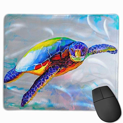 Deglogse Gaming-Mauspad-Matte, Smooth Mouse Pad Rainbow Sea Turtle Mobile Gaming Mousepad Work Mouse Pad Office Pad -