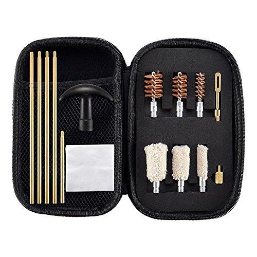 BOOSTEADY Schrotflinten Reinigungsset und Tasche - Premium Universal Reinigungsset Messing Ruten Kompakte Reisegröße Schwarz Tragbare Bronze Metallbürstenköpfe für 12, 20 und .410 Gauge Schrotflinten (Gewehr-reinigungs-kit Kompaktes)