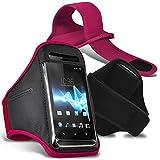 Sony Xperia XZ1 Brassard-étui de protection avec bande en Strap ajustable pour le sport, la gym, le jogging, la course, le vélo - Rose/Pink - par Gadget Giant