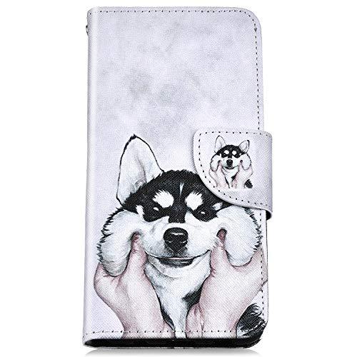Felfy Kompatibel mit iPhone 6 Hülle,Kompatibel mit iPhone 6S Handyhülle Leder Schutzhülle Magnetic Flip Case Gemalt Hund Muster PU Lederhülle Klapphülle Tasche mit Stand Function -